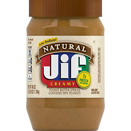 Jif Natural Creamy Peanut Butter, 40 Ounces (Pack of 8), 7g (7% DV) of Protein per Serving, Smooth, Creamy Texture, No Stir Natural Peanut Butter