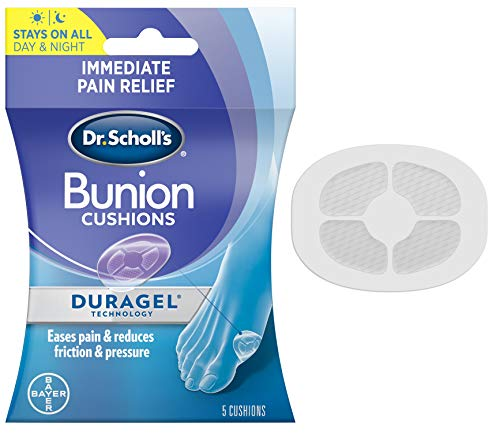 Dr. Scholl's BUNION CUSHION with Duragel Technology, 5ct // Cushioning Protection against Shoe Pressure and Friction that Fits Easily In Any Shoe for Immediate and All-Day Pain Relief