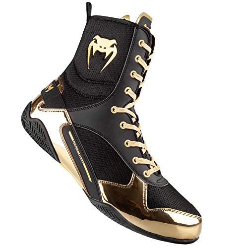 Venum Elite Boxing Shoes - Black/Gold - Size 6 (38.5)