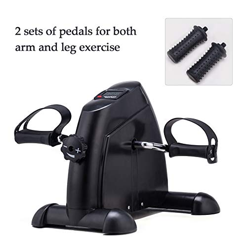 Pinty Mini Exercise Bike Pedal Exerciser Portable Cycle Lightweight (Black)