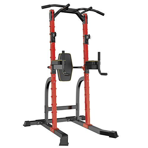 HI-MAT Adjustable Power Tower Pull Up Bar Workout Dip Station Multi-Function Push Up bar for Home Gym Strength Training Fitness Equipment (red Power Tower)