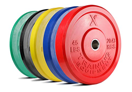 X Training Equipment Premium Color Bumper Plate Solid Rubber with Steel Insert - Great for Crosstraining Workouts (15lb Pair (Black))