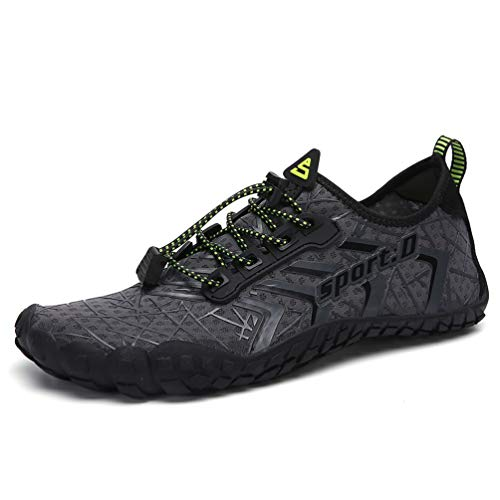 UBFEN Mens Womens Swimming Shoes Water Shoes Aqua Shoes Beach Sports Quick Dry Barefoot for Boating Fishing Diving Surfing with Drainage Driving Yoga Size 9 Women / 7.5 Men A Grey