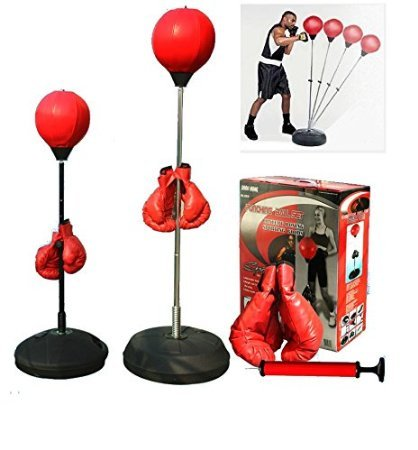 5Star-TD Boxing Punching Speed Ball Boxing Bag Anti Stress Fitness with Boxing Glove for Teenagers and Adults Adjustable 48' to 59' in Height New