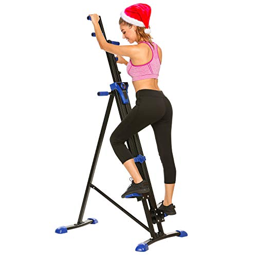 ANCHEER Vertical Climber Folding Exercise Climbing Machine, Exercise Equipment Climber for Home Gym, Exercise Bike for Home Body Trainer (US Stock) (Blue)