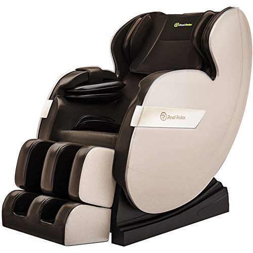 Real Relax 2019 Massage Chair, Full Body Zero Gravity Shiatsu Recliner with Bluetooth and Led Light, Brown and Khaki