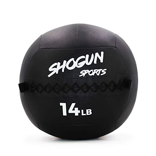 Shogun Sports Soft Wall Ball. Durable Medicine Ball for Strength, Conditioning, Cardio and Cross Training. Ideal for Wall Balls, Lunges, Partner Toss, Twists. Available in (10, 14, 20 LB) (14 LB)