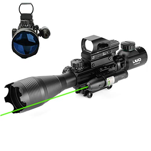 UUQ 4-16x50 Tactical Rifle Scope Red/Green Illuminated Range Finder Reticle W/ Green Laser Sight and Holographic Reflex Dot Sight