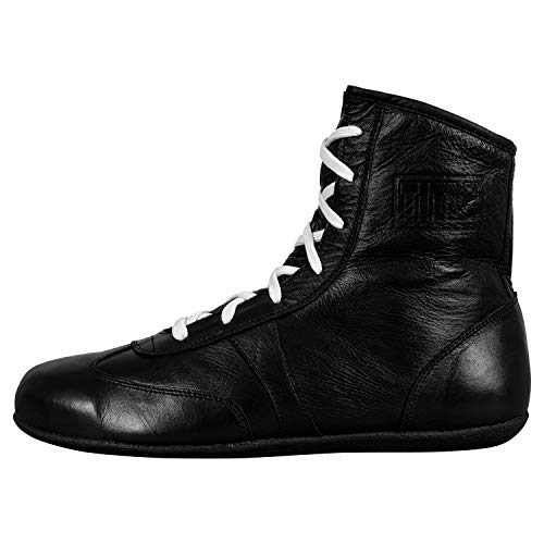 Title Boxing Old School Leather Boxing Shoes, Black, 8