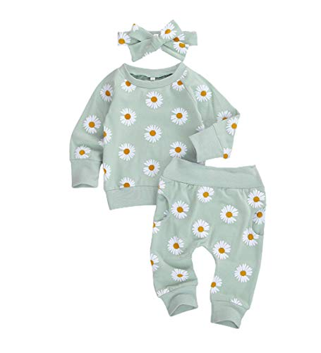0-24M Flower Newborn Infant Baby Girl Clothes Set Long Sleeve Sweatshirts Tops Pants Outfits (Green, 0-6 Months)