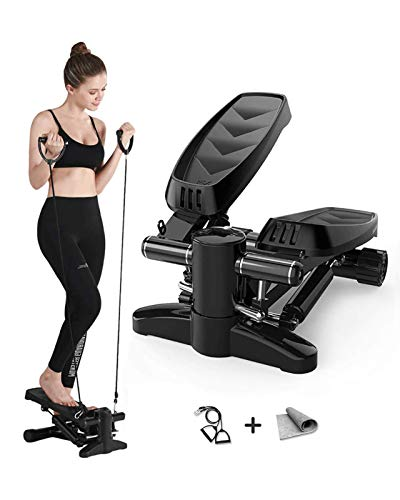 Arcwares Stair Stepper, Portable Fitness Mini Step Machine with Resistance Bands and LCD Monitor, Exercise Home Workout Equipment for Full Body Workout, Exercise, Stair Stepping Fitness
