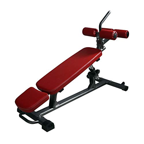 Finer Form Semi-Commercial Sit Up Bench Elite | Reverse Crunch Handle for Ab Exercises | Reverse Crunch and Decline Sit Up with 4 Adjustable Height Settings (Red)