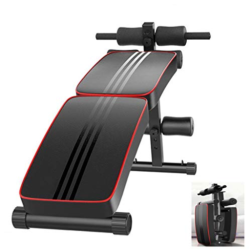 Folding Sit Up Inclined Bench, Professional Foldable Workout Bench with Fitness Rods for Abs Abdominal, Utility Bench for Home Gym Strength Training Fitness Equipment (Black)