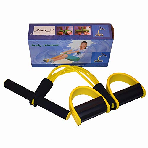 AIMMEE-JL 4-Tube Elastic Sit Up Pull Rope with Foot Pedal Abdominal Exerciser Equipment Fitness Yoga (Yellow)
