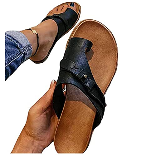 Summer Orthopedic Sandals for Women Ring Toe Bunion Flip Flops Fashion Casual Beach Sandals Shoes Black