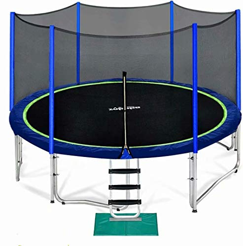 Zupapa 15 14 12 10 8FT Trampoline for Kids with Safety Enclosure Net 425LBS Weight Capacity Outdoor Backyards Trampolines with Non-Slip Ladder All Accessories for Children Adults Family(15FT Blue)
