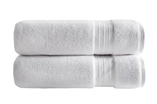 SALBAKOS 100% Turkish Cotton Luxury Bath Sheets - Ultra Soft and Absorbent - Imported from Denizli Turkey - Set of Two 30' x 60' Bath Sheets - 1000 GSM