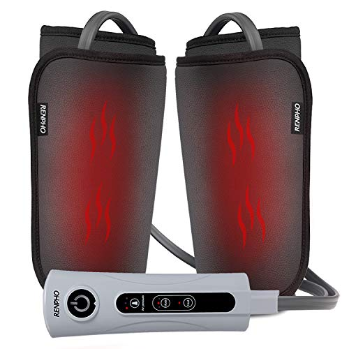 RENPHO Leg Foot and Calf Massager Machine with Heat, PU Leather Material Makes It Easy to Clean, Compression Kneading Massage for Relaxation Muscles, Helps Poor Circulation