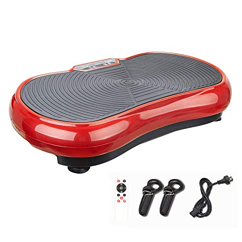 Pinty Fitness Vibration Platform - Whole Body Vibration Machine Crazy Fit Vibration Plate with Remote Control and Resistance Bands(Red)