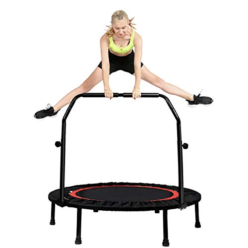 Tzt Kanchimi 40' Folding Mini Trampoline for Kids,Fitness Rebounder with Adjustable Foam Handle,Outdoor Indoor Trampoline for Kids and Adults Workout Max Load 330lbs