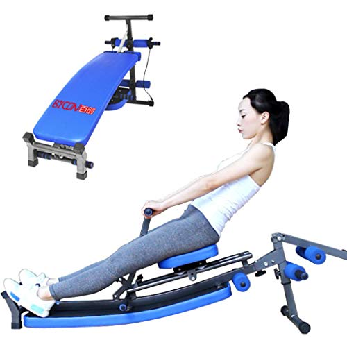 Abdominal Trainer Machine, Rowing Machine concept 2 Foldable Sit Up Bench Foldable Rocket Ab Exercise Equipment Dumbbell Bench Exercise for Abdomen, Waist, Arms, Legs, Etc. (Blue)