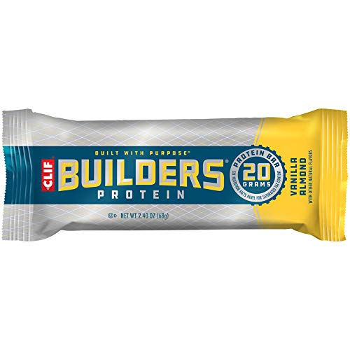 CLIF BUILDERS - Protein Bars - Vanilla Almond Flavor - 20g Protein (2.4 Ounce, 12 Count) (Now Gluten Free)