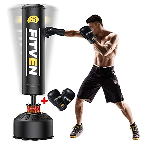 FITVEN Freestanding Punching Bag 70''-205lbs with Boxing Gloves Heavy Boxing Bag with Suction Cup Base for Adult Youth Kids - Men Stand Kickboxing Bag for Home Office