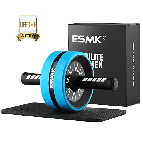 ESMK Ab Carver Pro Roller for Core Workouts Ab Wheel Fitness Equipment Ab Roller Wheel with Knee Pad - Blue
