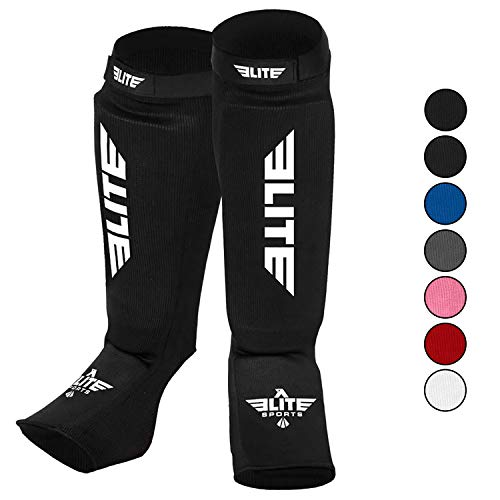 Elite Sports Muay Thai MMA Kickboxing shin Guards, Instep Guard Sparring Protective Leg shin Kick Pads for Kids and Adults (S-M)
