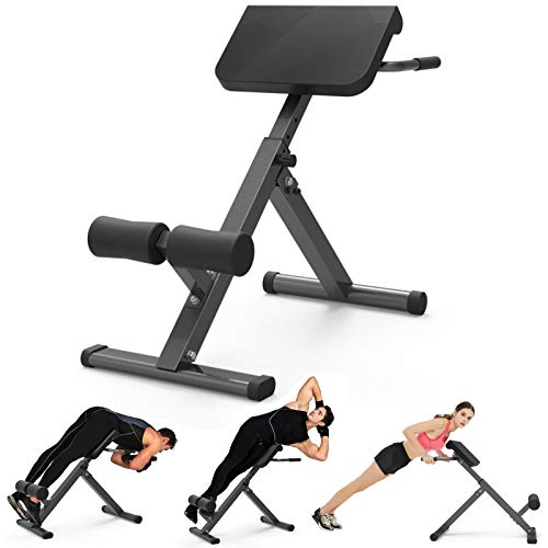 Roman chair 45 Degree Back Hyper Extension Bench/Back Trainer Machine Adjustable Height Ab Bench for Young Fit Man Fitness Women doing Core Exercise at Home Gym