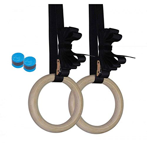 Wood Gymnastics Rings 32mm Olympic Rings 1.25 Inch with Adjustable Buckle 15ft L/1.5' W Straps Training Rings for Home Gym Full Body Workout