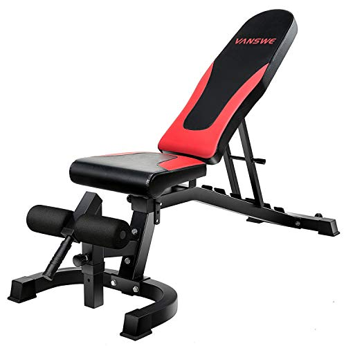 Vanswe Weight Bench, Adjustable Workout Bench Press 800lbs Flat Incline Decline Utility Bench Sit Up Exercise Bench for Home Gym Strength Training Full Body Workout