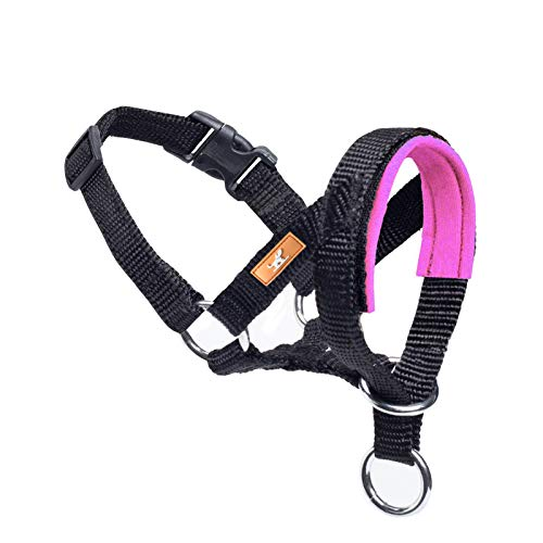 Dog Head Collar, Fabric Padded Head Collar for Dogs to Prevent Pulling, Adjustable Dog Head Harness (S, Pink)