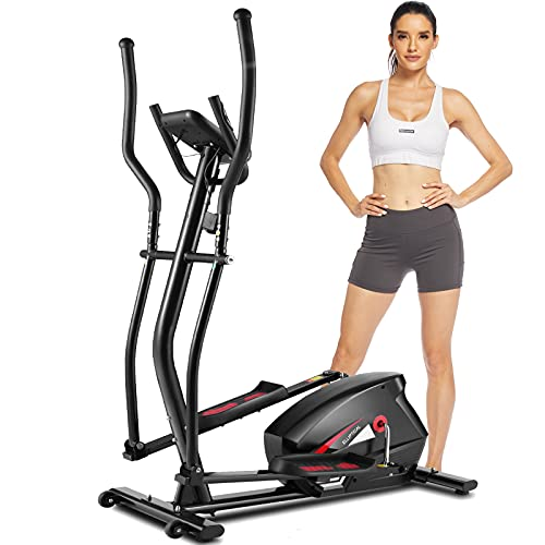 FUNMILY Elliptical Machines for Home Use,APP Control Cross Trainer with Hyper-Quiet Magnetic Driving System,10 Levels Magnetic Resistance,LCD Monitor, Heart Rate Sensor,390 LBS Weight Limit (Black)