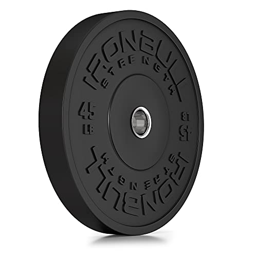 HD Bumper Plates 2' (Single) - One (1) 45 LB Single Rubber Weight Plate in Pounds (LB) for Olympic Barbells - Ideal for Cross-Training, Weightlifting, Fitness and Gym Weights (45lb (Single Plate))