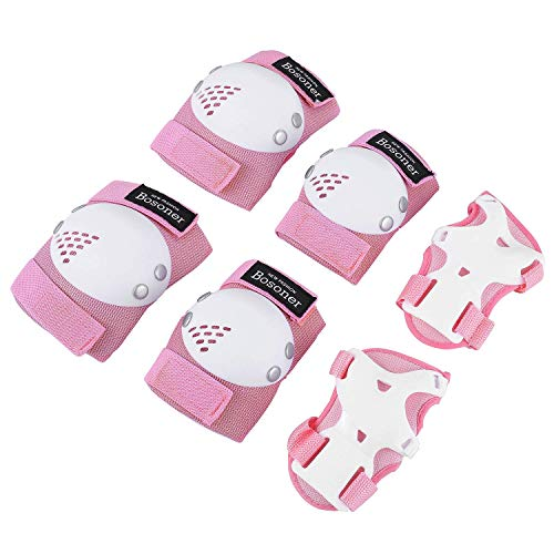 BOSONER Kids/Youth Knee Pad Elbow Pads for Roller Skates Cycling BMX Bike Skateboard Inline Rollerblading, Skating Skatings Scooter Riding Sports (Pink/White, Medium(6-15 Years))