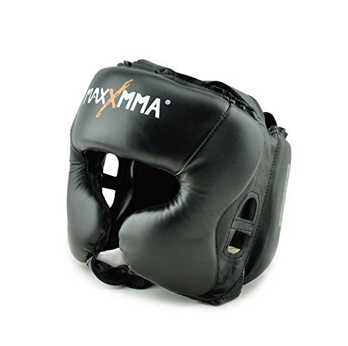 MaxxMMA Headgear Black L/XL Boxing MMA Training Kickboxing Sparring Karate Taekwondo
