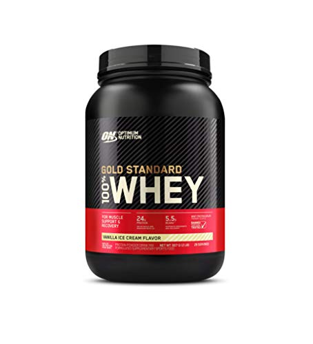 Optimum Nutrition Gold Standard 100% Whey Protein Powder, Vanilla Ice Cream, 2 Pound (Packaging May Vary)