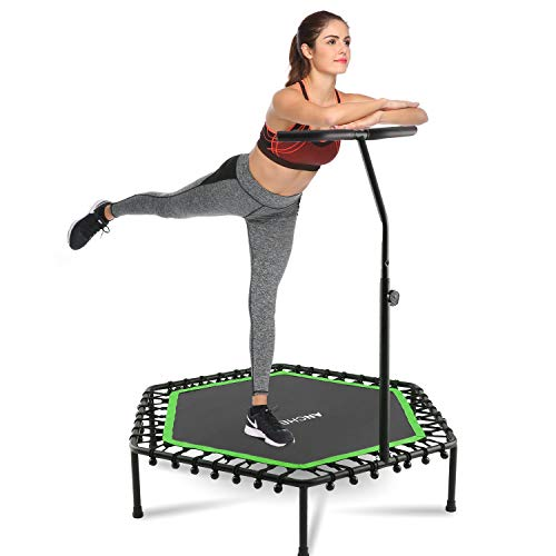 ANCHEER Mini Trampoline Rebounder for Adults Kids Fitness, 50' Cardio Trampolines Trainer with Adjustable Handle Bar for Indoor/Outdoor/Garden/Yoga Workout Exercise