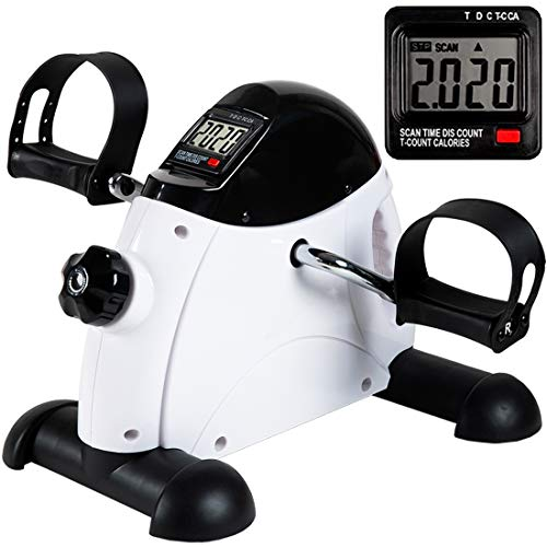 Under Desk Bike Pedal Exerciser - TABEKE Mini Exercise Bike for Arm/Leg Exercise, Mini Exercise Peddler with LCD Display (Battery Not Included)