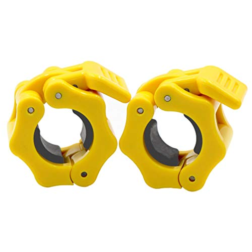 IADUMO 1 Inch Safety Barbell Collars, Gym Standard Bar Clamps Quick Release Pair of Locking Weight Plates Clips for Weightlifting Workout Fitness (Yellow)