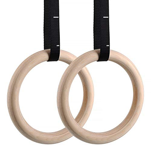 FEMOR Gym Rings, Wood Gymnastic Rings with Adjustable Straps, Heavy Duty Gym Equipment for Cross-Training Workout, Strength Training, Gymnastics, Fitness, Pull Ups and Dips (Set of 2)