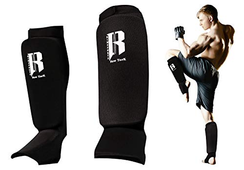 RIMSports Muay Thai Shin Guards Kickboxing - Premium MMA Shin Guards and Shin Pads - Ideal Shin Guard for MMA, Wrestling, Sparring, Muay Thai, Kickboxing & Karate (Black, S/M)