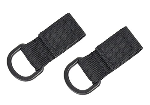 partstock 2-Pack Tactical Molle D Type Nylon Velcro,Backpack Accessories, T-Ring Kettle Key Holder,for Molle Bags Webbing Attachment Strap.(Black)