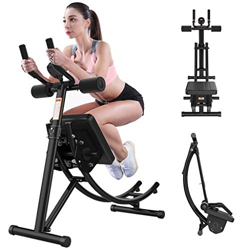 Abdominal Trainer Ab Machine Core Ab Workout Fitness Equipment Vertical Height Adjustable Abdominal Trainer Ab Crunch Coaster for Home Gym Exercise (Black)