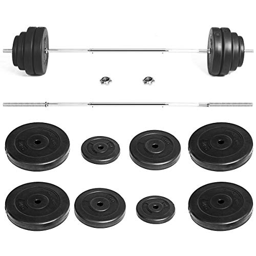 GYMAX Barbell Weight Set, 132 LBS Dumbbell Weight Set with Star-Lock & 8 Plates, Weight Lifting Barbell Kit for Strength Training, Full Body Workout for Home/Gym (Black+Silver)