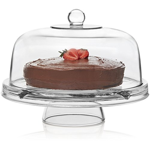 Libbey Selene 6-in-1 Multiuse Glass Server, Punch Bowl, Chip and Dip Bowl, Cake Stand