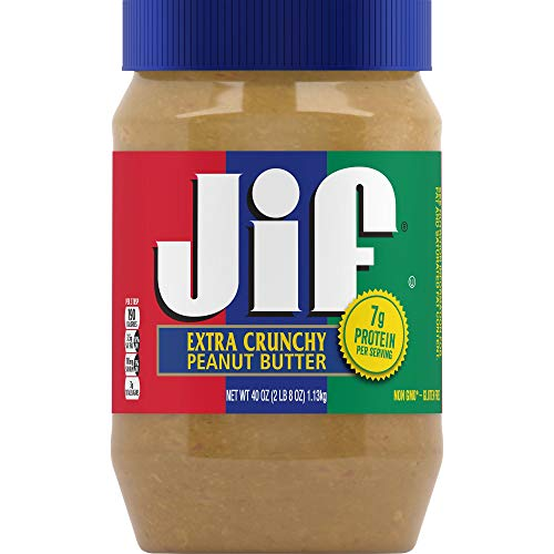 Jif Extra Crunchy Peanut Butter, 40 Ounces, 7g (7% DV) of Protein per Serving, Packed with Peanuts for Extra Crunch, No Stir Peanut Butter