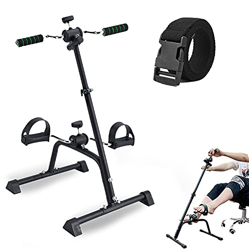 SYNTEAM Compact Mini Exercise Bike Arms and Legs Adjustable Fit Sit Unfoldable Peddler Exerciser for Elderly(Foam Handle)