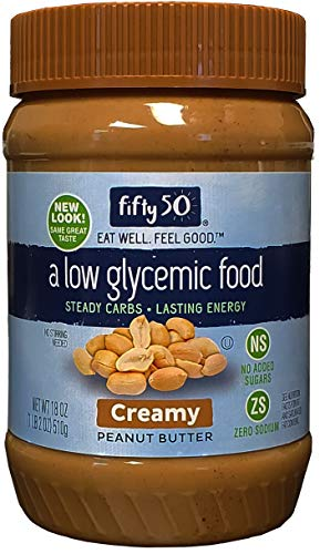 Fifty 50 Foods Low Glycemic, No Added Sugar, Creamy Peanut Butter, 18 Ounce (Pack of 6)